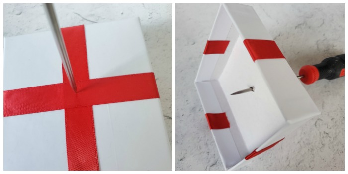 Use awl to make a hole in the present box