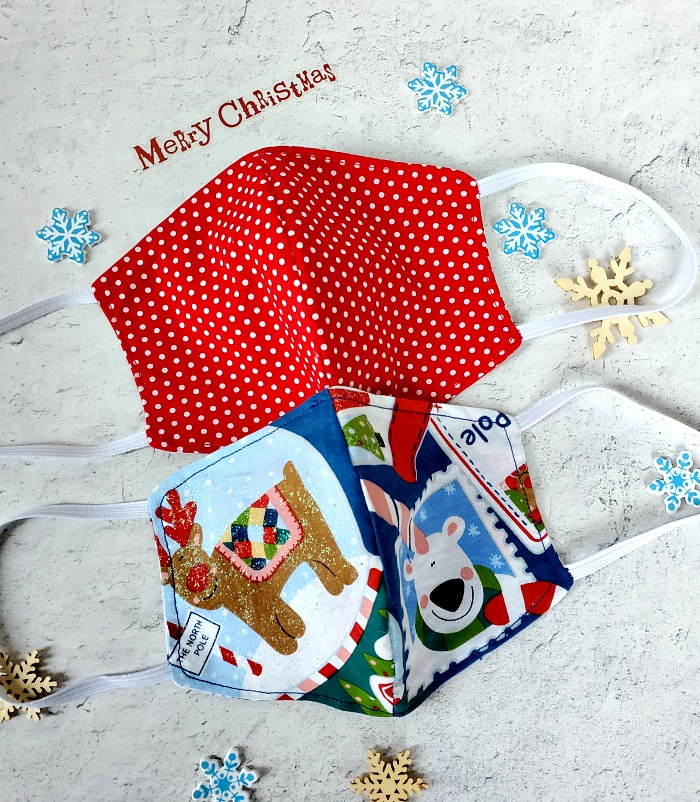 Polka dot and Christmas DIY Face Mask with Center Seam