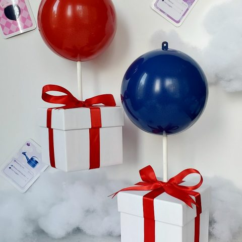 Red and Blue Animal Crossing Balloon Present Ornaments