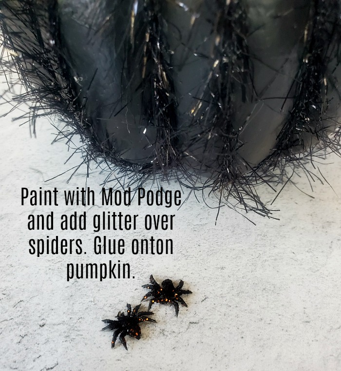 Eyelash yarn Halloween pumpkin glittered spiders