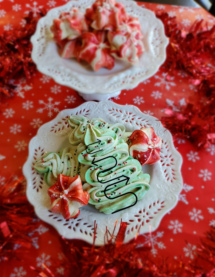 Christmas meringue cookies Christmas tree shape