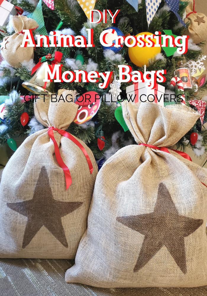 DIY Giant Animal Crossing Money Bags under tree