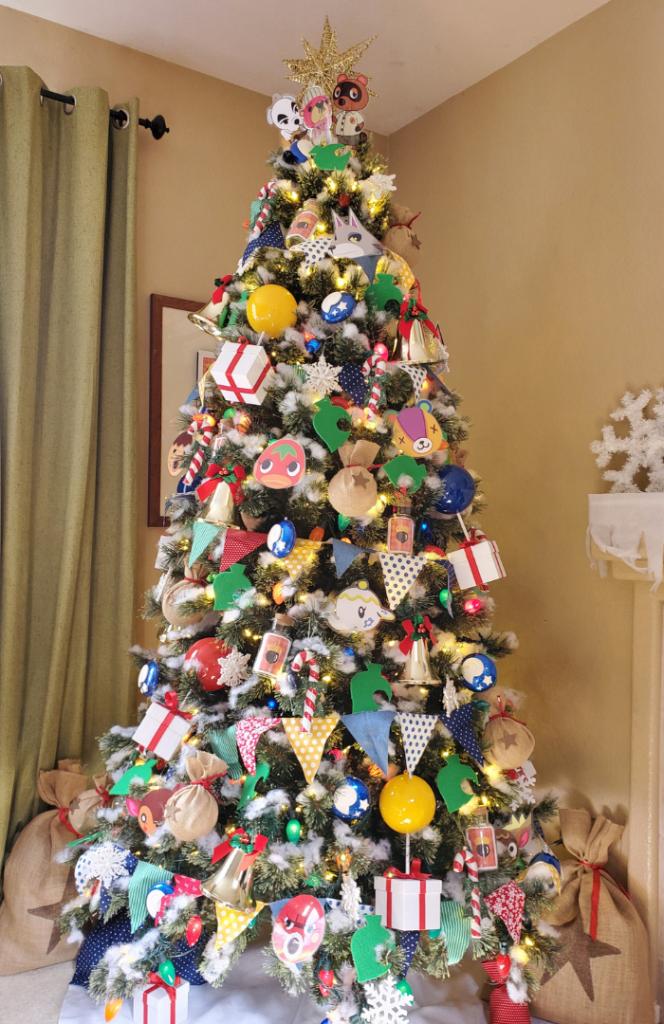 Whimsical Colorful Animal Crossing Christmas Tree