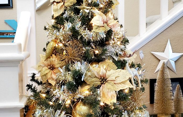 2020 Gold Holographic Garland Christmas Tree