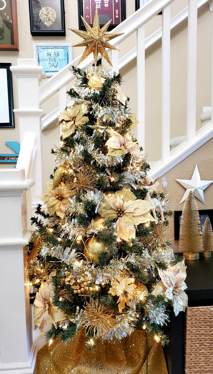 Gold holographic garland Christmas tree