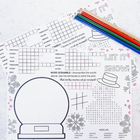 Christmas Activity Coloring Mat