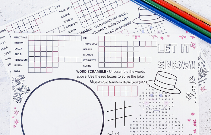 Free Christmas Activity Coloring Mat Printable