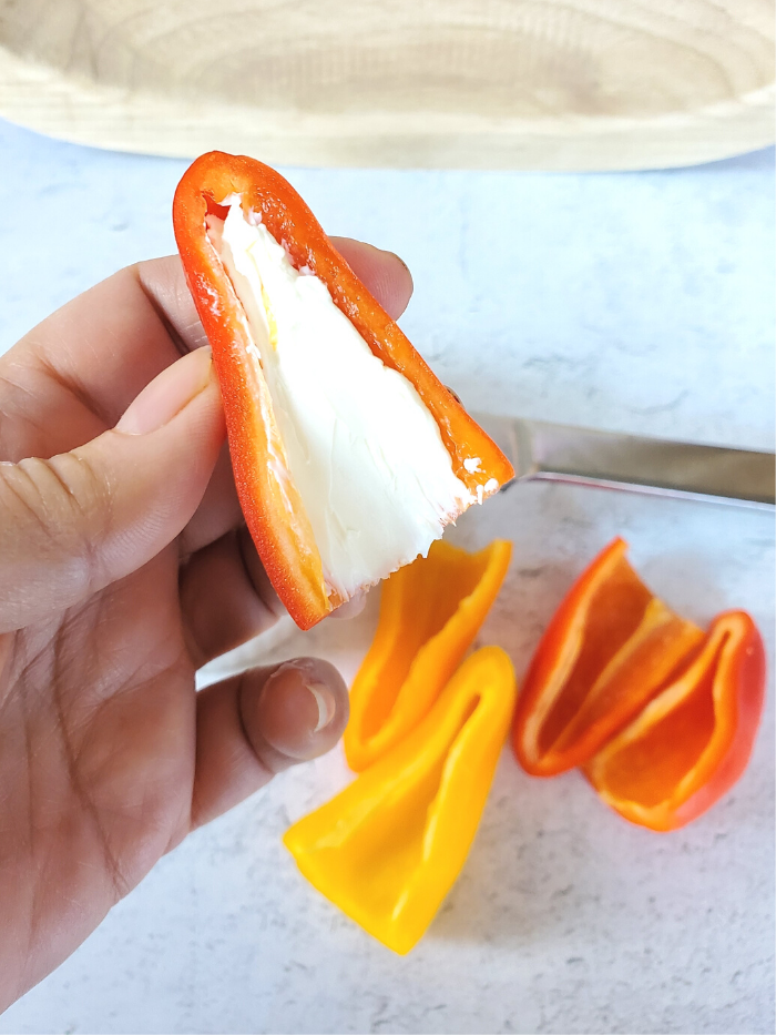 Bell pepper filled with cream cheese