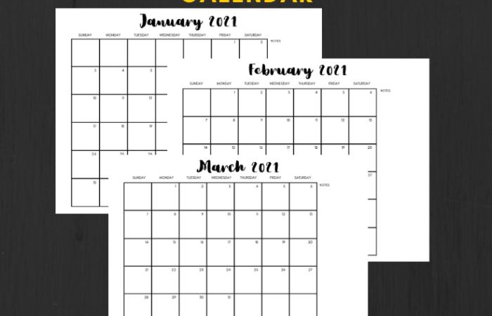 free 2021 minimalist calendar printable