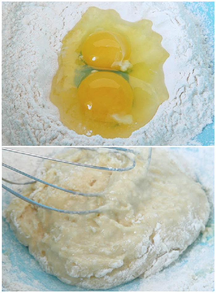 Eggs added to well in flour