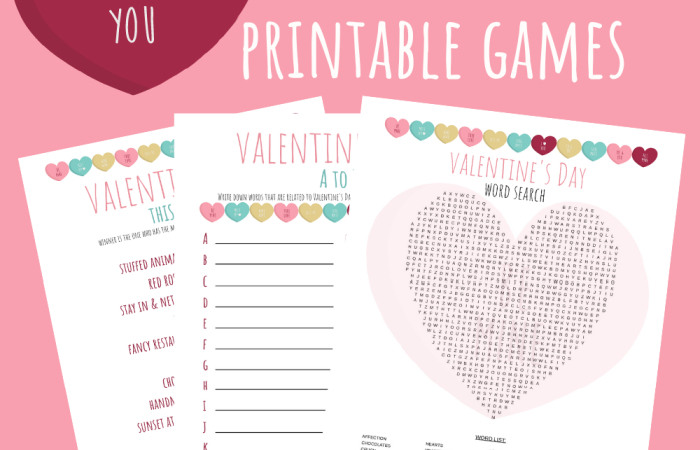 Valentine's Day Games Printables slider