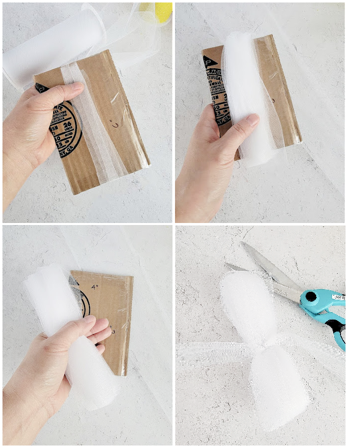 Tulle pom pom wrapping