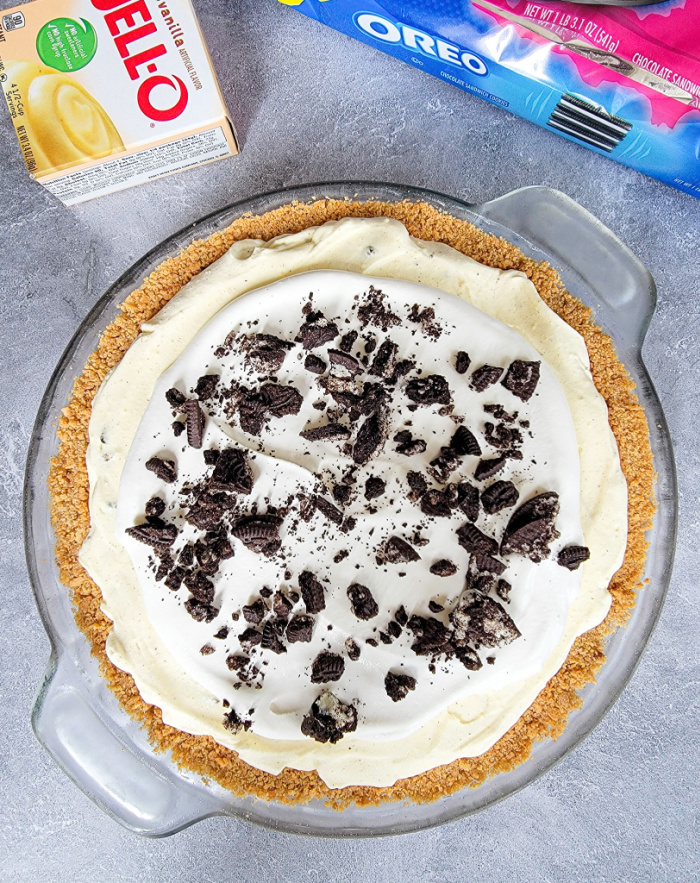 No bake cookies and cream pie