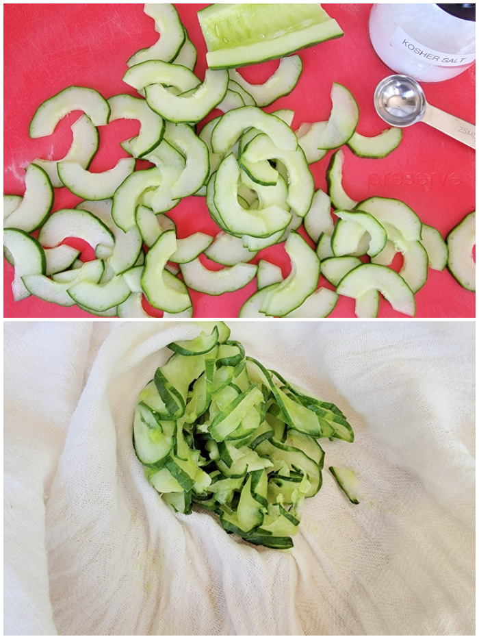 Thinly sliced cucumbers for vegetable potato salad